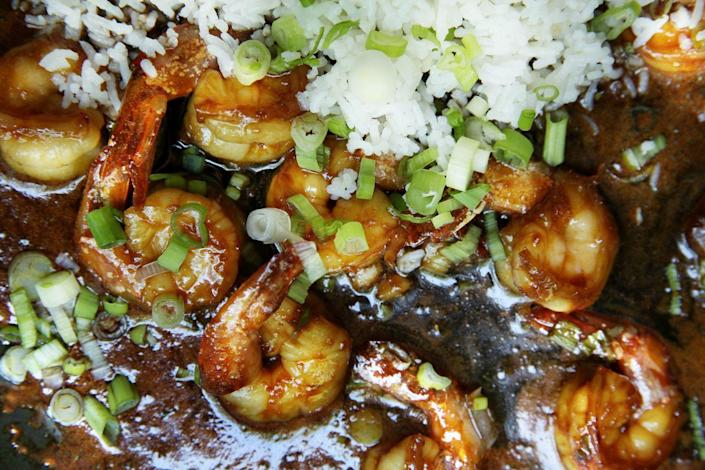 "<p>This shrimp is all we need.</p><p>Get the recipe from <a href=""https://www.delish.com/cooking/recipe-ideas/recipes/a48679/sticky-ginger-shrimp-with-scallion-rice-recipe/"" rel=""nofollow noopener"" target=""_blank"" data-ylk=""slk:Delish"" class=""link rapid-noclick-resp"">Delish</a>.</p>"