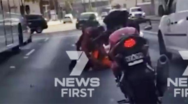 The elderly man was walking across the road when he allegedly started arguing with the motorbike rider. Source: Channel 7