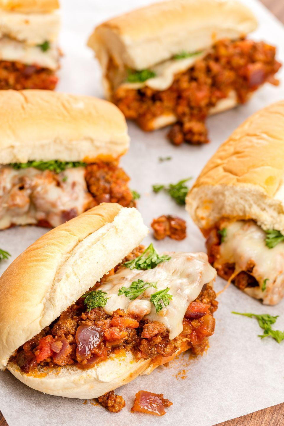 """<p>With ground turkey swapped in for beef and an Italian flair, these sloppy joes are super addicting.</p><p>Get the recipe from <a href=""""https://www.delish.com/cooking/recipe-ideas/recipes/a46564/ground-turkey-italian-sloppy-joes-recipe/"""" rel=""""nofollow noopener"""" target=""""_blank"""" data-ylk=""""slk:Delish"""" class=""""link rapid-noclick-resp"""">Delish</a>.<br></p>"""
