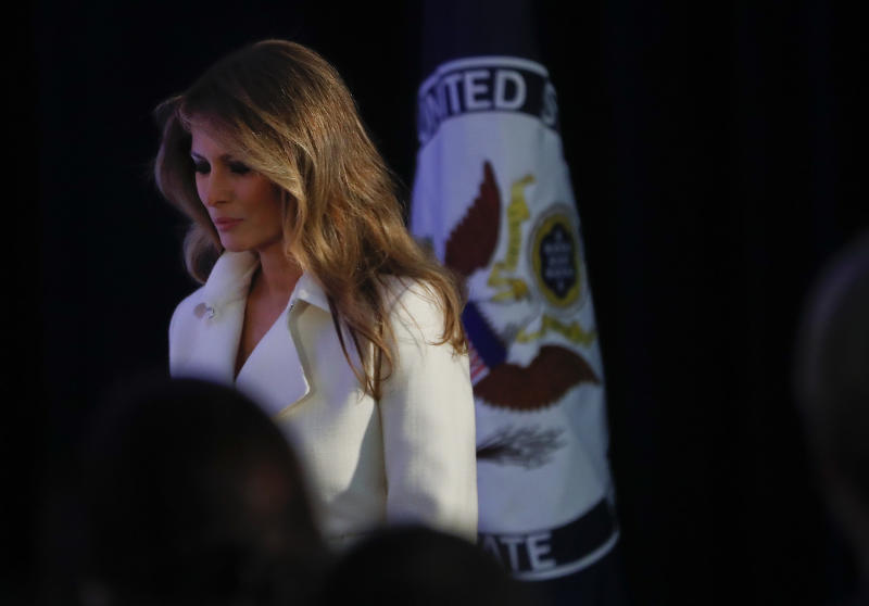 First lady Melania Trump arrives at the State Department in Washington, Wednesday, March 29, 2017, to present the 2017 Secretary's of State's International Women of Courage (IWOC) Awards. (AP Photo/Pablo Martinez Monsivais)
