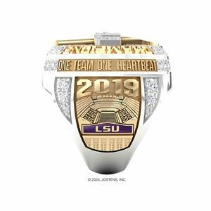 Side panel detail of LSU's 2019 College Football Playoff National Championship ring, designed and produced by Jostens.