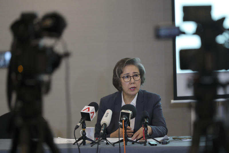 """U.N. Special Rapporteur for Human Rights in Myanmar, Lee Yanghee, speaks during a press conference in Kuala Lumpur, Thursday, July 18, 2019. U.N. envoy Lee said the U.S. didn't """"go far enough"""" in sanctions against four top Myanmar generals over the mass killings of Rohingya Muslims. (AP Photo/Vincent Thian)"""