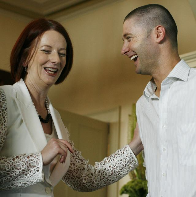 Australian Prime Minister Julia Gillard shares a laugh with stand-in captain Michael Clarke during a cricket luncheon held at Kirribilli House in Sydney on January 1, 2011. Prime Minister Julia Gillard invited both the Australian and England team to the luncheon before the final Ashes series begins on January 3. AFP PHOTO / Krystle WRIGHT (Photo credit should read KRYSTLE WRIGHT/AFP/Getty Images)