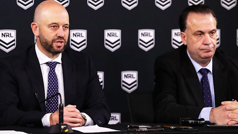 Todd Greenberg and Peter V'landys, pictured here speaking to the media in Sydney.