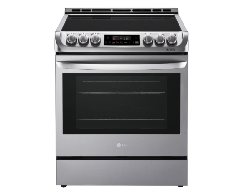 "LG 30"" 6.3 Cu. Ft. True Convection 5-Element Slide-In Electric Range. Image via Best Buy."
