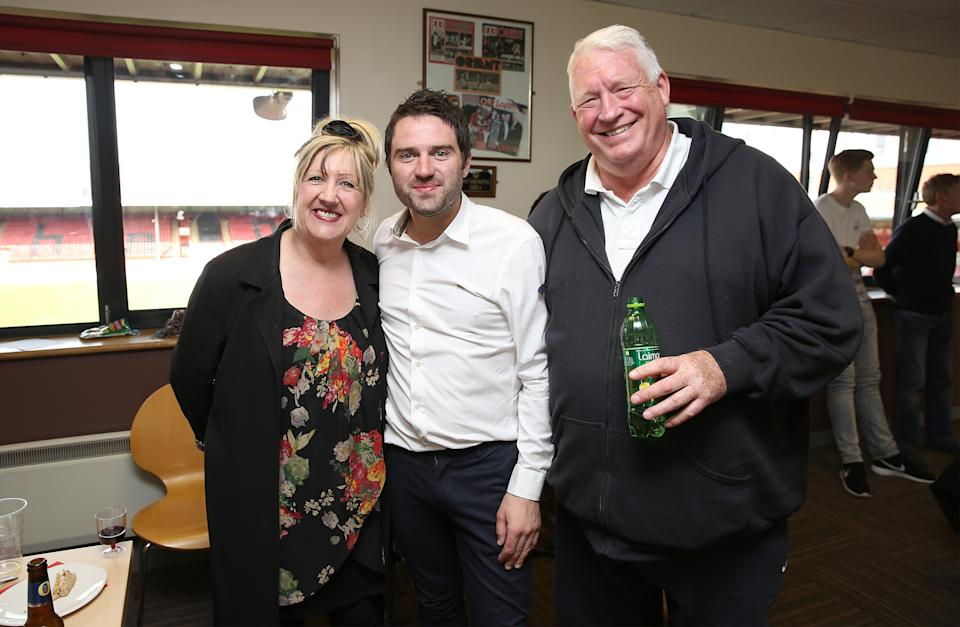 LONDON, ENGLAND - MAY 17:  Linda Gilbey, George Gilbey and Pete McGarry attend a Charity football match in aid of St Joseph's Hospice and Haven House Children's Hospice at Leyton Orient Matchroom Stadium on May 17, 2015 in London, England.  (Photo by Tim P. Whitby/Getty Images for St Joseph's Hospice and Haven House Children's Hospice)