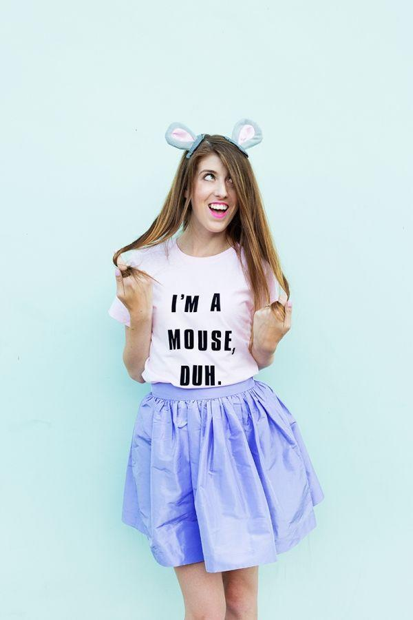 """<p>Okay, we couldn't resist including another <em>Mean Girls</em> costume. This line is iconic! This DIY project is easy to pull off with mouse ears and iron-on letters. </p><p><strong>See more at <a href=""""https://studiodiy.com/diy-im-a-mouse-duh-costume/"""" rel=""""nofollow noopener"""" target=""""_blank"""" data-ylk=""""slk:Studio DIY!"""" class=""""link rapid-noclick-resp"""">Studio DIY!</a>.</strong></p><p><a class=""""link rapid-noclick-resp"""" href=""""https://www.amazon.com/Fanbay-Pieces-Letters-Transfer-Jersyes/dp/B089VZN2G7/ref=sr_1_1_sspa?tag=syn-yahoo-20&ascsubtag=%5Bartid%7C2164.g.37115224%5Bsrc%7Cyahoo-us"""" rel=""""nofollow noopener"""" target=""""_blank"""" data-ylk=""""slk:SHOP IRON-ON LETTERS"""">SHOP IRON-ON LETTERS</a></p>"""