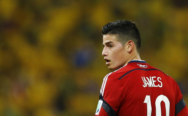 Colombia's James Rodriguez is pictured during their 2014 World Cup quarter-finals against Brazil at the Castelao arena in Fortaleza July 4, 2014. REUTERS/Marcelo Del Pozo (BRAZIL - Tags: SOCCER SPORT WORLD CUP)