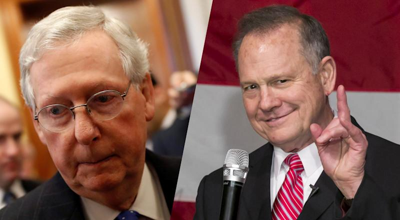 Mitch McConnell and Roy Moore. (Photos: Aaron P. Bernstein/Reuters; Nicole Craine/Bloomberg via Getty Images)