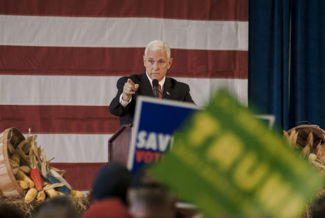 Governor Mike Pence, the Republican Vice Presidential candidate, addresses supporters at a rally in a barn at the Bruere Seed Farm, Prole, Iowa, November 3, 2016. (Photo by Mark Reinstein/Corbis via Getty Images)