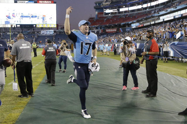Tennessee Titans quarterback Ryan Tannehill (17) leaves the field after an NFL football game against the Los Angeles Chargers Sunday, Oct. 20, 2019, in Nashville, Tenn. The Titans won 23-20. (AP Photo/James Kenney)