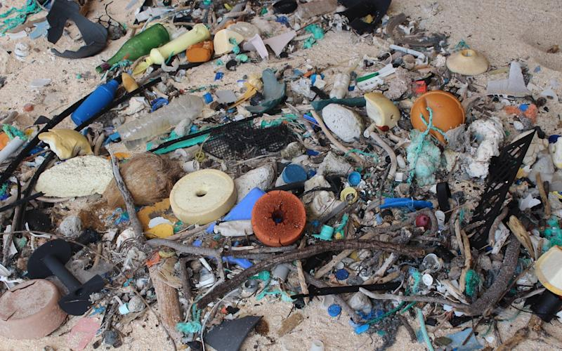 Plasti waste on Henderson Island in the south Pacific Ocean