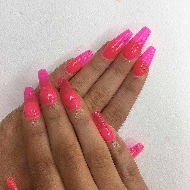 """<p>But you will need acrylics to create these iconic, neon jelly nails.</p><p><a href=""""https://www.instagram.com/p/BwxCh73h6Da/?utm_source=ig_embed"""" rel=""""nofollow noopener"""" target=""""_blank"""" data-ylk=""""slk:See the original post on Instagram"""" class=""""link rapid-noclick-resp"""">See the original post on Instagram</a></p>"""