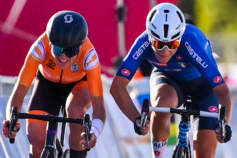 Annemiek van Vleuten (Netherlands) and Elisa Longo Borghini (Italy) go head to head for the silver medal