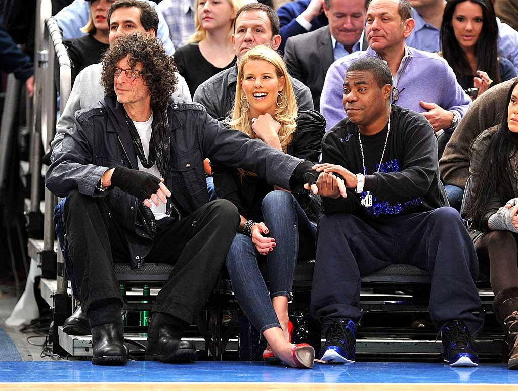 """Beth Ostrosky didn't seem to mind her husband, radio shock jock Howard Stern, getting handy with """"30 Rock's"""" Tracy Morgan at the New York Knicks game at Madison Square Garden Thursday night. Maybe Stern was giving Morgan some words of advice after the comedian got himself into hot water over comments he made about Sarah Palin during a live broadcast of """"Inside the NBA""""? James Devaney/<a href=""""http://www.wireimage.com"""" target=""""new"""">WireImage.com</a> - January 27, 2011"""