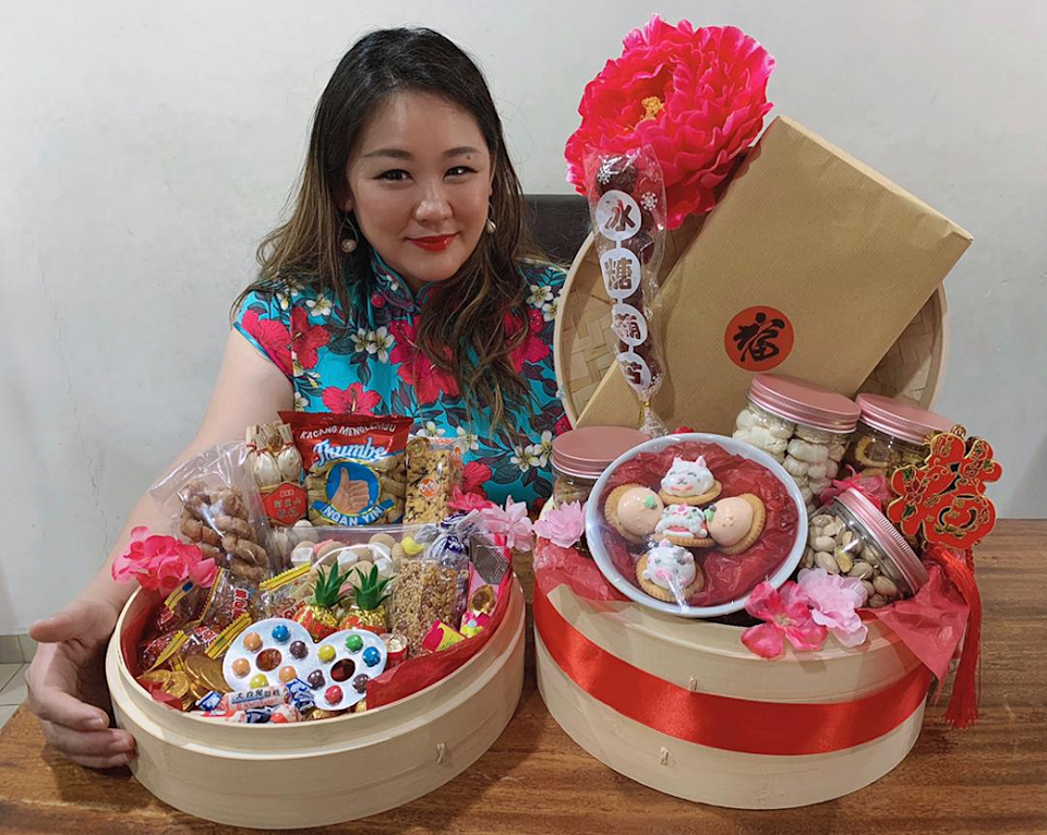 There are two choices of hampers by former beauty pageant contestant Vanessa Yoong. This is the Nostalgic Indulgence hamper consisting of popular tit-bits and food that promises to invoke that nostalgia feeling to the recipients. — Photo courtesy of Vanessa Yoong