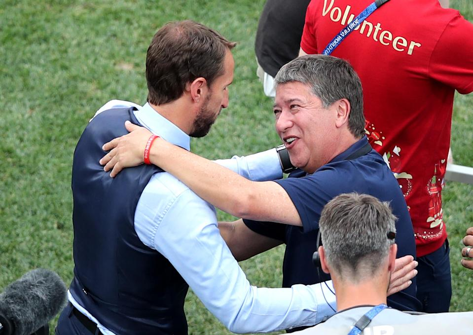 The two managers share a few words during England's win over Panama.