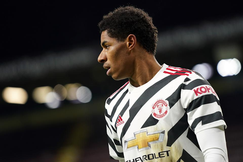 Marcus Rashford continues to react with poise and grace in the face of racist abuse on social media. (Photo by Jon Super - Pool/Getty Images)
