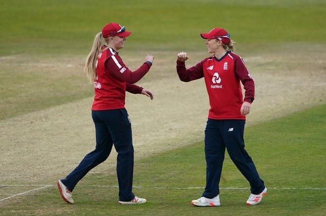 England skipper Heather Knight (right) and Sarah Glenn celebrate victory over the West Indies at Derby