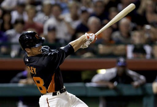 San Francisco Giants' Buster Posey hits an RBI single against the Colorado Rockies during the third inning of an exhibition spring training baseball game, Thursday, March 21, 2013, in Scottsdale, Ariz. (AP Photo/Marcio Jose Sanchez)