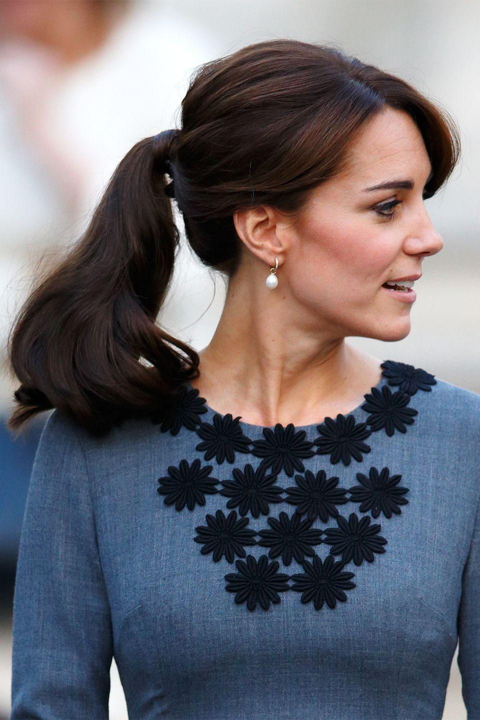 <p>Even royals can wear ponytails, as seen on The Duchess of Cambridge in 2015.</p>