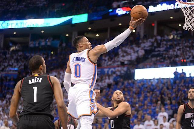Westbrook porte OKC vers la victoire/Photo prise le 22 avril 2017/REUTERS/Mark D. Smith