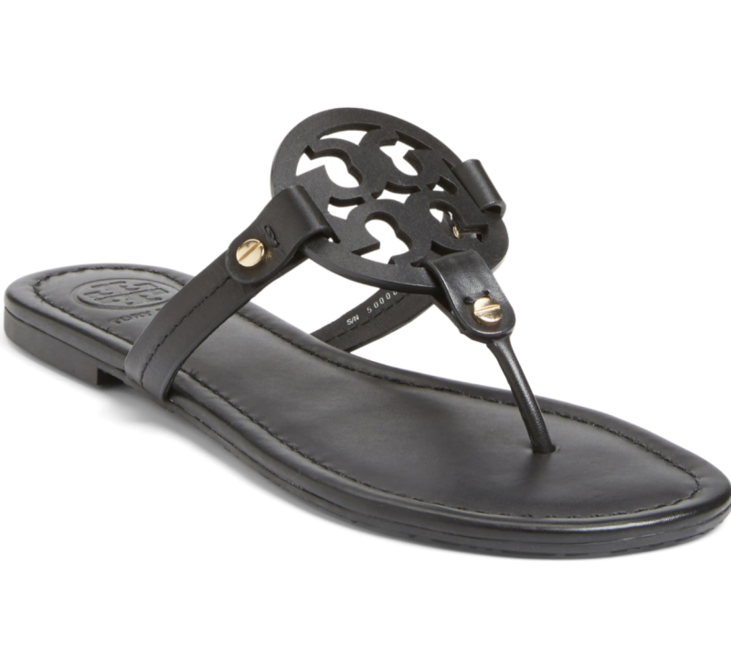 Tory Burch Miller Flip Flop in Black Leather