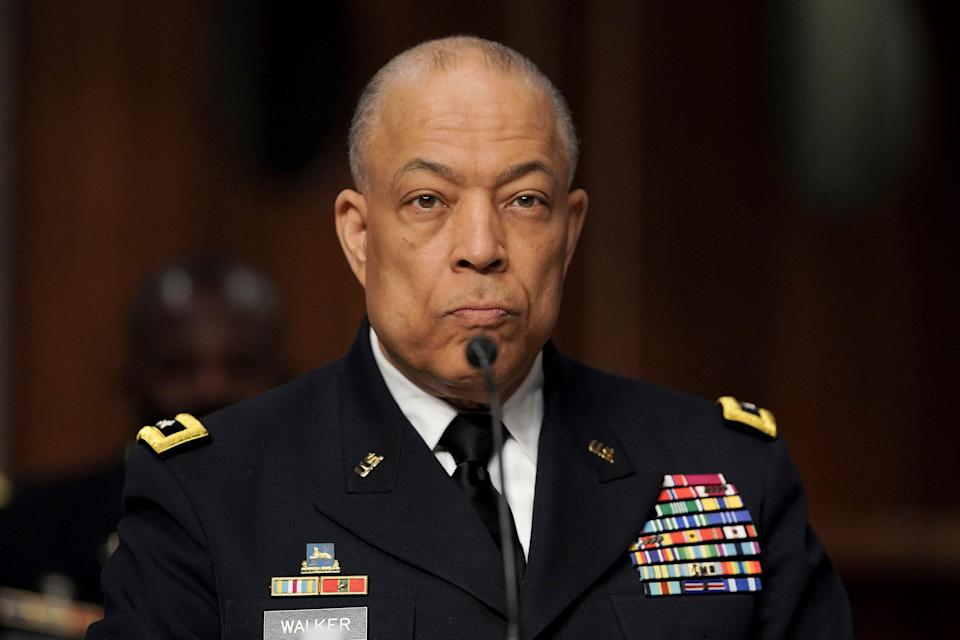At a hearing March 3, Army Maj. Gen. William Walker, commander of the D.C. National Guard, explains the delay in riot response to senators examining the attack on the Capitol on Jan. 6.
