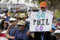 Fans cheer on Phil Mickelson along the seventh fairway during the second round of the U.S. Open Golf Championship, Friday, June 18, 2021, at Torrey Pines Golf Course in San Diego. (AP Photo/Marcio Jose Sanchez)