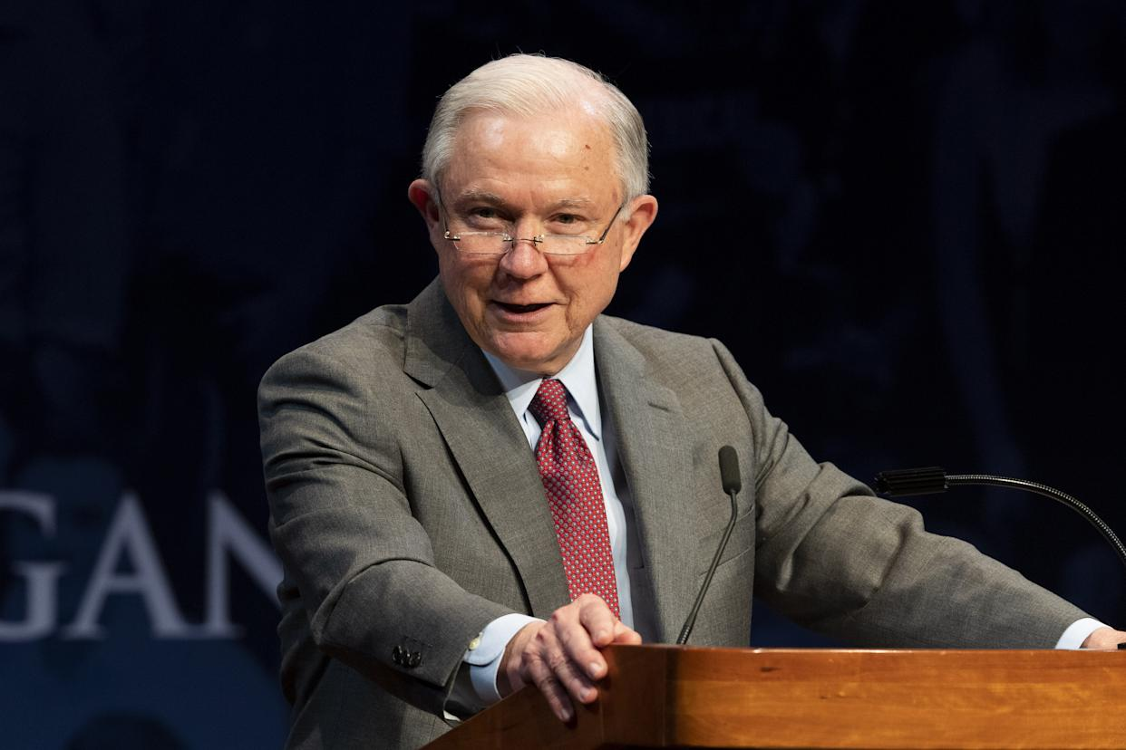 Attorney General Jeff Sessions speaks at the Turning Point High School Leadership Summit in Washington on July 24. (Photo: Michael Brochstein via ZUMA Wire)