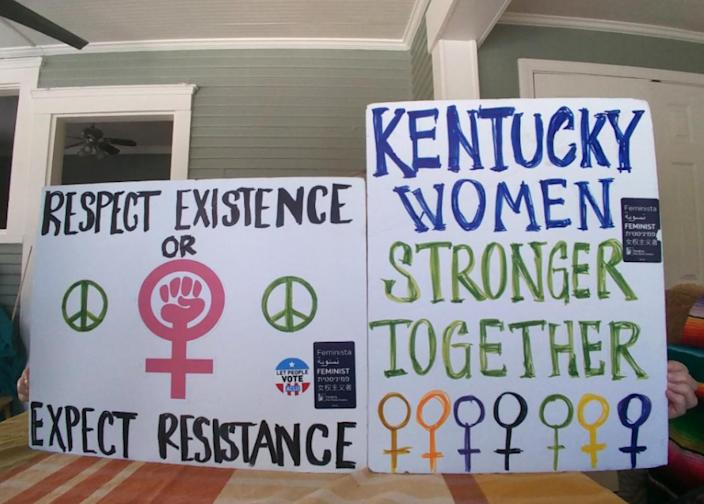 The posters that Blair Wilson and Linda Wilhelms will be marching with at the 2018 Women's March. (Photo: Blair Wilson)