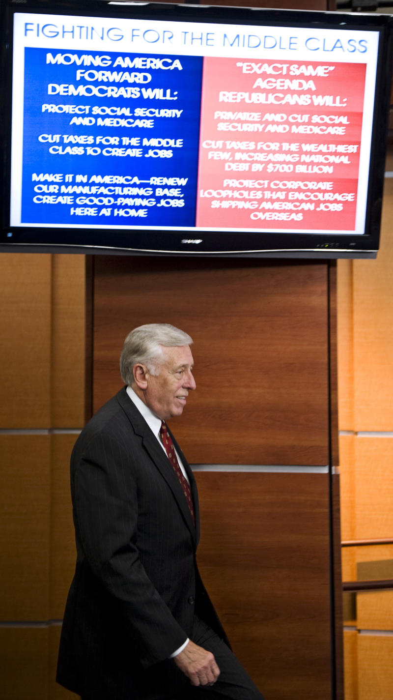 House Majority Leader Steny Hoyer of Md., arrives for a news conference on Capitol Hill in Washington in Thursday, Sept. 30, 2010. (AP Photo/Cliff Owen)