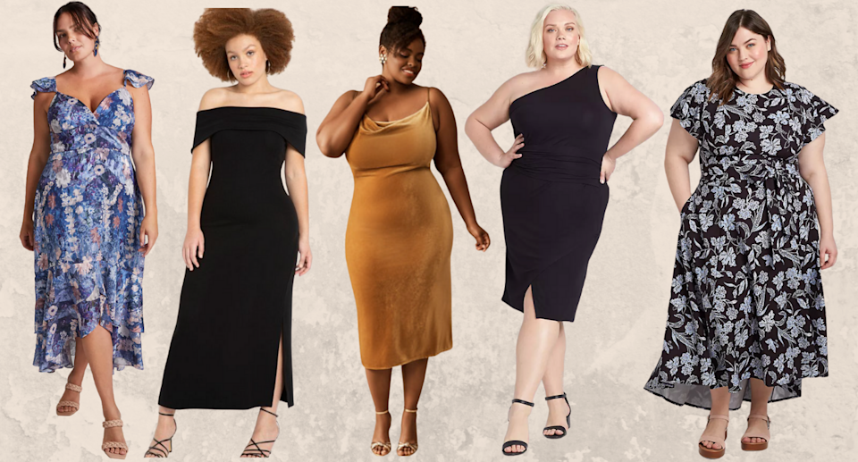 These 15 plus-size dresses are perfect for fall wedding season — and they start at just $23 (Photos via Anthropologie, Eloquii, BHLDN, and Lane Bryant)