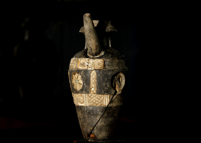 A recovered antiquity is displayed at the Iraqi National Museum in Baghdad, Iraq, Monday, April 1, 2013. Tens of thousands of artifacts chronicling some 7,000 years of civilization in Mesopotamia are believed to have been looted from Iraq in the chaos which followed the the US-led invasion in 2003. Despite international efforts to track items down, fewer than half of the artifacts have so far been retrieved. (AP Photo/Hadi Mizban)