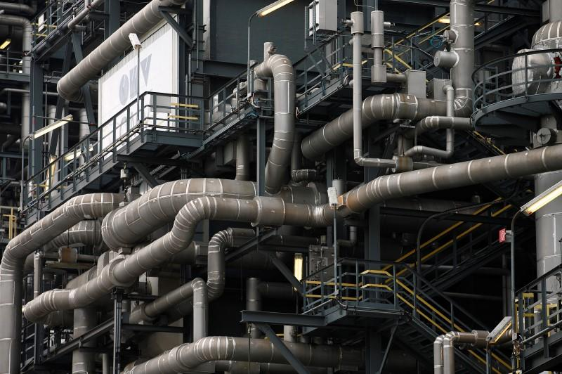 Pipes are pictured at the refinery of Austrian oil and gas group OMV in Schwechat
