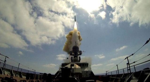 Russian warship fires cruise missiles at Syrian targets. Picture: Reuters/Ministry of Defence of the Russian Federation
