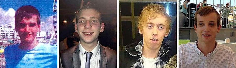 Inquests into the deaths of (left to right) Daniel Whitworth, 21, Jack Taylor, 25, Anthony Walgate, 23, and Gabriel Kovari, 22, are examining how the police investigated their deaths (Metropolitan Police/PA) (PA Media)