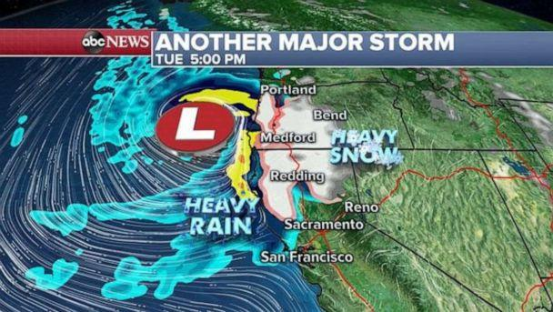 PHOTO: The storm will initially bring an area of heavy snow to northern California and much of Oregon. (ABC News)