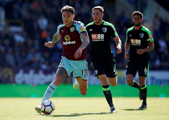 "Soccer Football - Premier League - Burnley vs AFC Bournemouth - Turf Moor, Burnley, Britain - May 13, 2018 Burnley's Jeff Hendrick in action REUTERS/Andrew Yates EDITORIAL USE ONLY. No use with unauthorized audio, video, data, fixture lists, club/league logos or ""live"" services. Online in-match use limited to 75 images, no video emulation. No use in betting, games or single club/league/player publications. Please contact your account representative for further details."