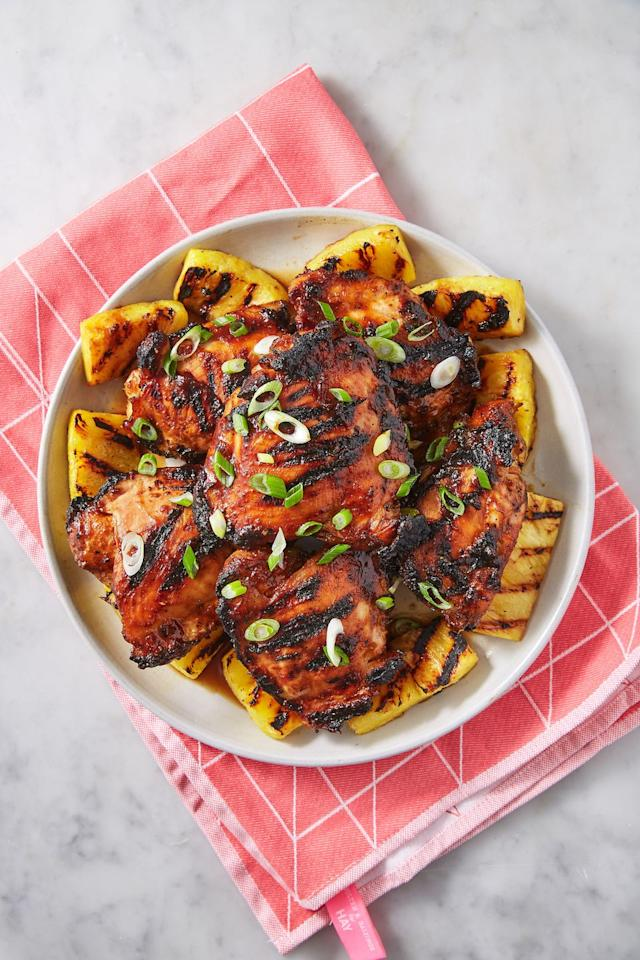"<p>The grilled pineapple is the perfect addition. </p><p>Get the recipe from <a href=""https://www.delish.com/cooking/recipe-ideas/a27972975/huli-huli-chicken-recipe/"" target=""_blank"">Delish</a>.</p>"