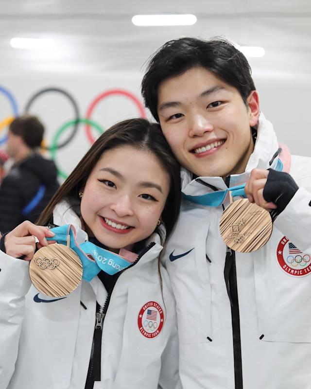 <p>alexshibutani: @maiashibutani and I have worked so hard for this! Proud to be the first ice dance team of Asian descent to win a medal at the @olympics. (Photo via Instagram/alexshibutani) </p>
