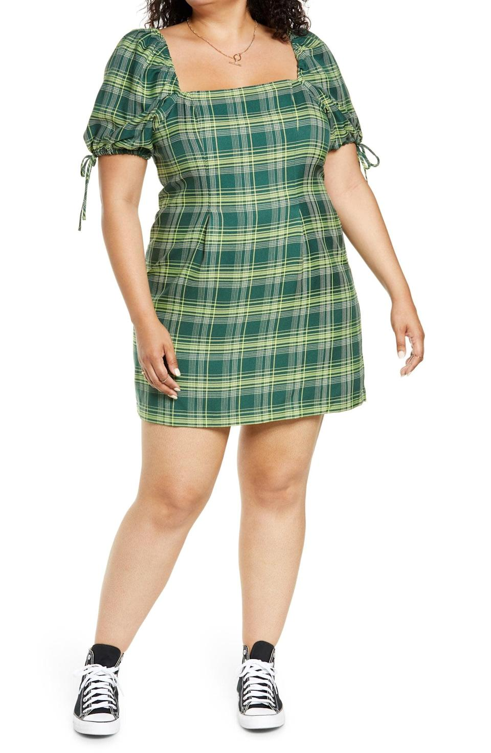 <p>We love the edgy and carefree look of this <span>BP. Short Sleeve Plaid Minidress</span> ($49).</p>