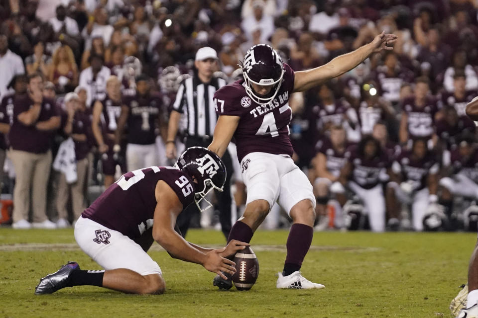 Texas A&M's Seth Small (47) kicks a field goal against Alabama for the win at the end of an NCAA college football game Saturday, Oct. 9, 2021, in College Station, Texas. (AP Photo/Sam Craft)