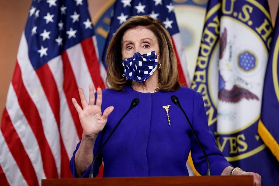 WASHINGTON, Oct. 9, 2020 -- U.S. House Speaker Nancy Pelosi speaks during a press conference on Capitol Hill in Washington, D.C., the United States, on Oct. 9, 2020. U.S. President Donald Trump has approved a revised COVID-19 relief package in the negotiations with congressional Democrats, White House's National Economic Council Director Larry Kudlow said Friday. U.S. Treasury Secretary Steven Mnuchin is expected to discuss a new 1.8-trillion-U.S.-dollar relief proposal with House Speaker Nancy Pelosi when the two speak Friday afternoon, according to The Wall Street Journal. (Photo by Ting Shen/Xinhua via Getty) (Xinhua/T IngShen/liujie via Getty Images)