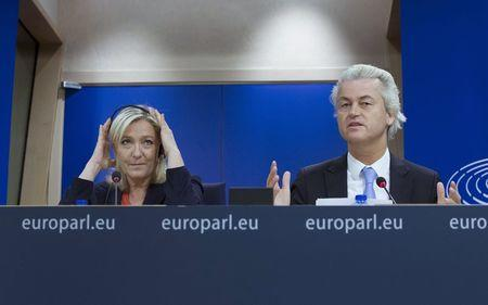 France's National Front political party head Le Pen and Netherlands' far-right PVV leader Wilders  hold a joint news conference at the European Parliament in Brussels