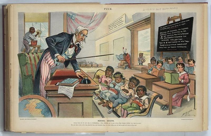 "A print from 1899, the year after the United States took control of Puerto Rico, shows Uncle Sam lecturing ""Cuba, Porto Rico, Hawaii, [and] Philippines."" (Library of Congress)"
