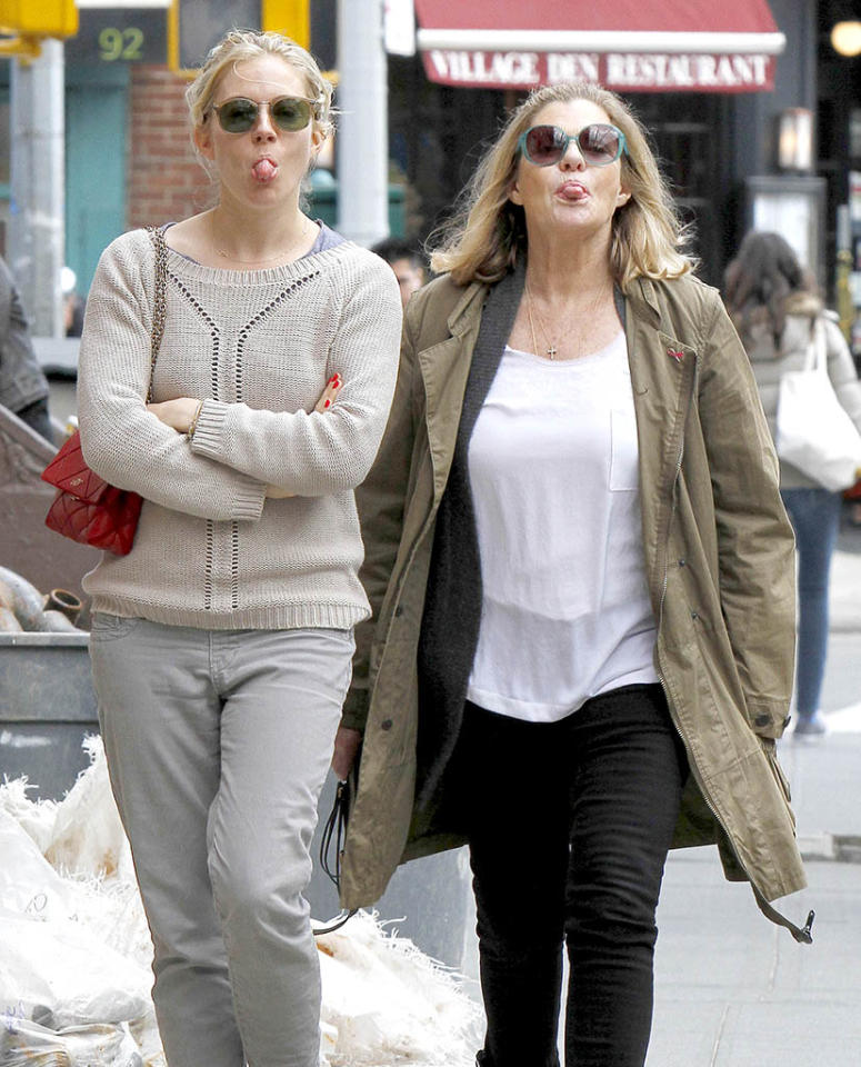 Spitting images! Actress Sienna Miller and her mom shows the paps how they <i>really</i> felt while walking down a street in New York City's West Village on Monday. (4/1/2013)