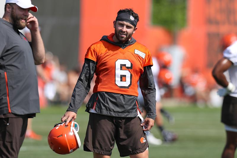 BEREA, OH - JULY 25: Cleveland Browns quarterback Baker Mayfield (6) during drills during the Cleveland Browns Training Camp on July 25, 2019, at the at the Cleveland Browns Training Facility in Berea, Ohio. (Photo by Frank Jansky/Icon Sportswire via Getty Images)