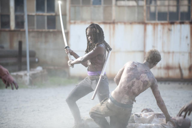 "Michonne (Danai Gurira) and walkers in ""The Walking Dead"" episode, ""Say the Word."""