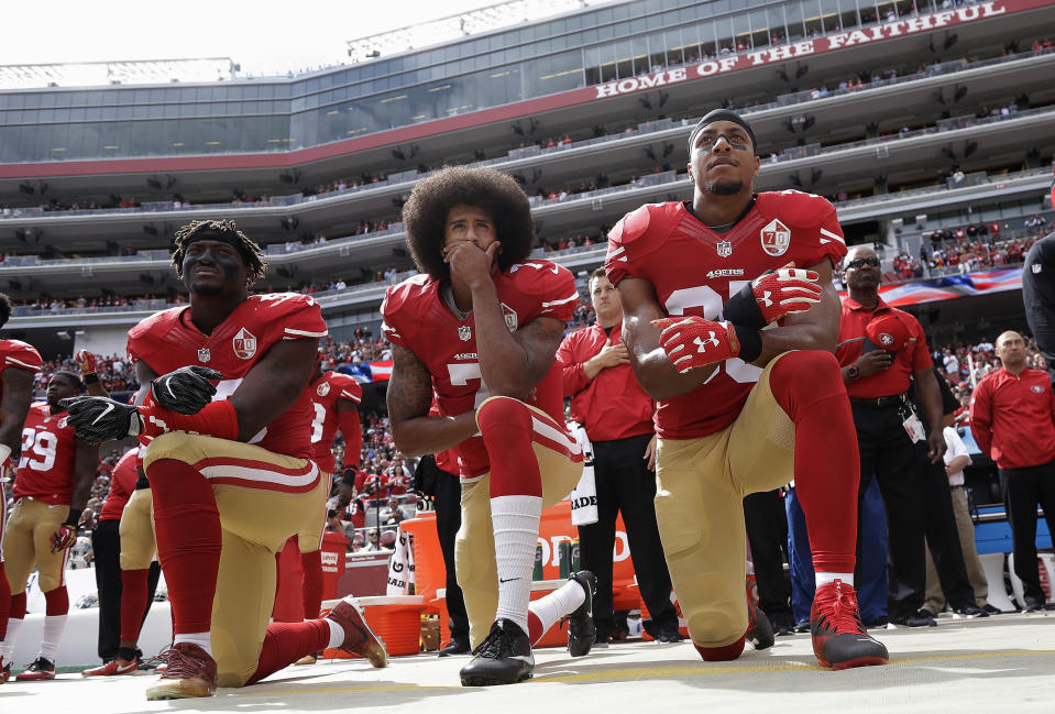 For several reasons, now is the right time to stop playing the national anthem at sporting events. (AP Photo/Marcio Jose Sanchez, File)